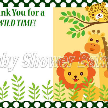 Printable Jungle Thank You Card, Baby Shower Thank You Card, Birthday Thank You Card, Jungle Theme Thank You Card