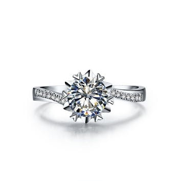 0.5 Carat  Lovely Design  Snow Flake SONA Synthetic Diamonds  Engagement Ring Best wedding Jewelry for Bridal