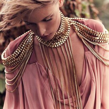 Gold Full Metal Body shoulder Chain Necklace