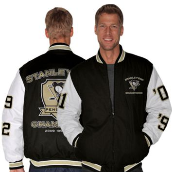 Pittsburgh Penguins Hall of Fame Commemorative Canvas Full Zip Jacket - Black/White