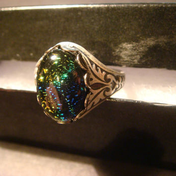 Victorian Style Dichroic Glass Antique Silver Ring- Adjustable (1012)