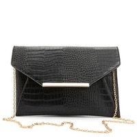 Oversized Crocodile Cross-Body Clutch