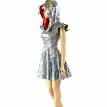 Holographic Great White Shark Fin Hoodie Skater Dress with Red Lined Hood and Teeth