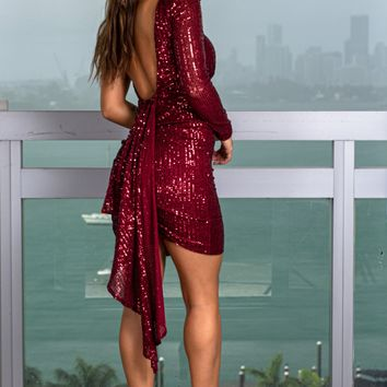 Wine Sequin One Shoulder Short Dress