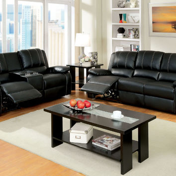 CM6826 2 pc gaffey black bonded leather match sofa and love seat with recliner ends