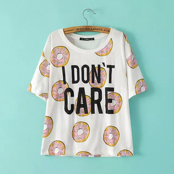 White Donut And Letters Print T-Shirt
