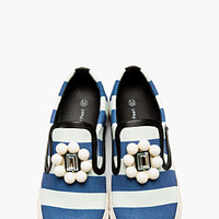 Mother Of Pearl Blue Embellished Striped Slip-on Sneakers