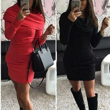 NOV9O2 FASHION SOLID COLOR BODYCOM HOODED DRESS