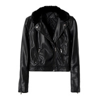LEATHER LOOK BIKER JACKET WITH FAUX FUR COLLAR