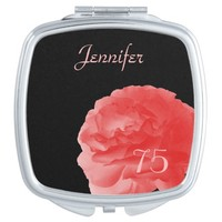 Personalized Coral Pink Rose 75th Birthday Compact Mirror For Makeup