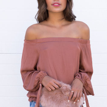 Khloe Off The Shoulder Silky Top - Light Amber