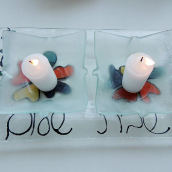 Fused glass Shabbat plate, candle holders plate,home decor plate,jewish home gift