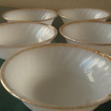 5 Small Milk Glass Bowls with gold trim by Fire King/ Fruit Bowl Dessert bowl/ Vintage 50s Kitchen by Feisty Farmers Wife