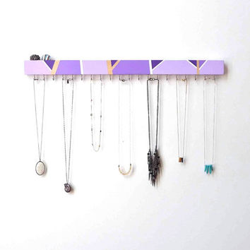 Jewelry Organizer Wall - Jewelry Holder - Necklace Hanger - Modern Wood Decor - Geometric - Wood Jewelry Hanger - Necklace Storage