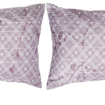 "DaDa Bedding Set of Two Purple Floral Cherry Blossom Pillow Cases, Queen 20"" x 30"", 2-PCS (8318)"