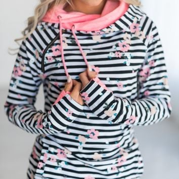 DoubleHood™ Sweatshirt - Distressed Floral Stripe