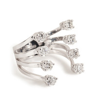 Delfina Delettrez - 18kt White Gold Big Ring with Diamonds