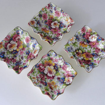 Four Vintage James Kent Ltd Du Barry Chintz Nut Dishes, Square, Ruffled, Mint / Trinket Dish, Made in England, Vintage 1930s