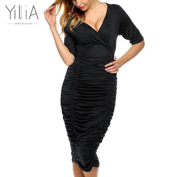 Yilia Kim Kardashian Party Dress Deep V Neck Sexy Black Blue Purple Dress Women Pleated Draw String Bodycon Dress Robe Vestidos