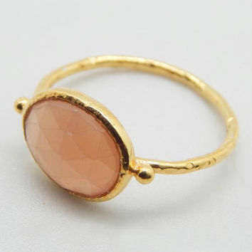 Moonstone Ring, Peach Moonstone Ring, Peach Gemstone Stacking Ring, 22K Yellow Gold Plated Moonstone Silver Ring, June Birthstone Oval Ring