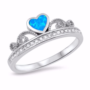 Sterling Silver CZ Lab Blue Opal Simulated Diamond Crown Tiara Ring 7MM
