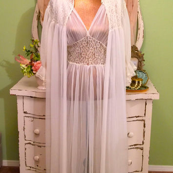 1950s Nightgown Set, 40s 50s Micro Pleated Nightie, Vintage Lingerie, Peignoir Robe Set, Bridal Chiffon n Lace Set, Hollywood Glam, Med
