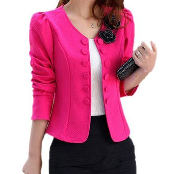 Women's Fashion Slim Jacket Suit Blazer Long Sleeve Short Coat Outerwear  M-3XL