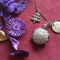 Turtle Pocket Watch Necklace