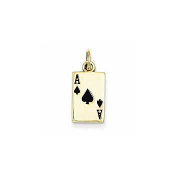 14k Enameled Ace Of Spades Card Charm, Best Quality Free Gift Box Satisfaction Guaranteed