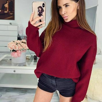 New Red Cut Out High Neck Long Sleeve Casual Sweater