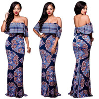 Indian Print Off Shoulder Maxi Dress 22169