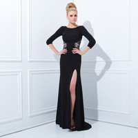 (PRE-ORDER) Tony Bowls 2014 Prom Dresses - Black Jersey Long Sleeve Prom Gown
