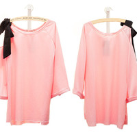 Pink Shoulder Bow Loose 7 Sleeve T-shirt