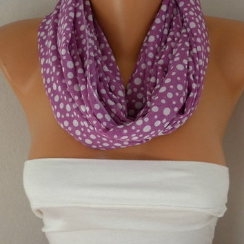 Lilac - White Polka Dot - Infinity Scarf Shawl Circle Scarf  Loop  Scarf Gift -fatwoman