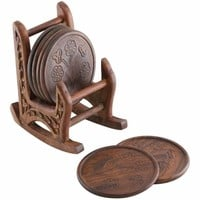 Handmade Rosewood Coasters With Rocking Chair Holder, Set Of 6, Brown By Benzara