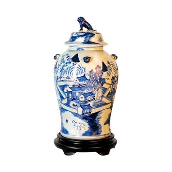 Beautiful Blue and White Porcelain Chinoiserie Blue Willow Temple Jar 19""