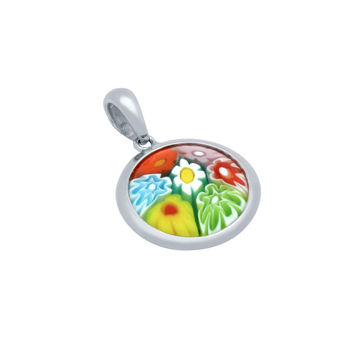 "Sterling Silver Multicolor Glass Murano Millefiori Glass Pendant Double Sided Round  (Free 18"" Chain)"