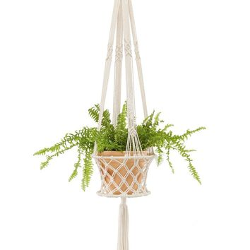 Mkono Macrame Plant Hanger Hanging Planter Basket Home Decor, Up to 8 Inch Flower Pot