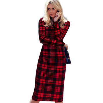 Vfemage Womens Autumn Elegant Tartan Check Plaid Long Sleeve Wear to Work Business Office Stretch Bodycon Fitted Dress 1565