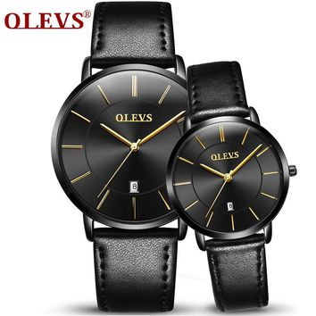 Luxury Brand OLEVS Men's Calendar Watches Men and Women Quartz Clock Fashion Casual Leather Strap Wrist Watch Male Relogio