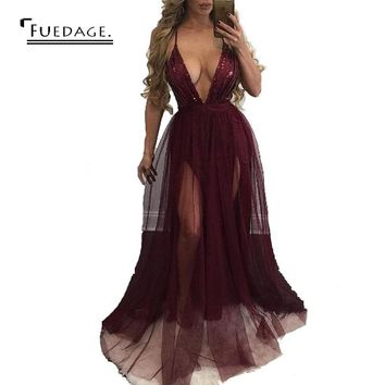 2017 autumn winter new women sequined maxi dress deep v-neck backless dress vintage sexy dress club wear   party dresses