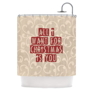 """Sylvia Cook """"All I Want For Christmas"""" Holiday Shower Curtain"""