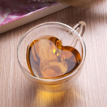 180ml Heart Love Shaped Double Wall Layer Transparent Glass Tea Cup Lover Coffee Mug Gift Drop Shipping