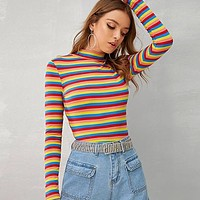 Multicolor Stand Collar Striped Ribbed Knit Casual T-shirt Women Tops  Long Sleeve Form Fitted Stretchy Tees