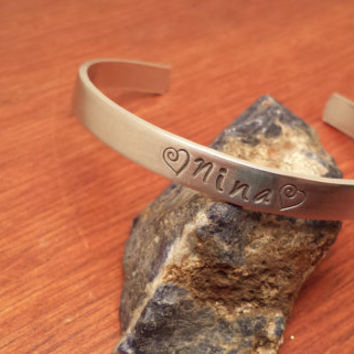 Hand stamped aluminum bracelet cuff personalized with name