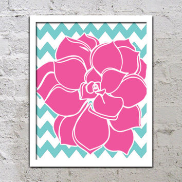 Flower Chevron Wall Art Turquoise Hot Pink Artwork Bold Colorful Dahlia Baby Decor NURSERY Print Bedroom Bathroom Choose Any Color