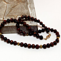 Mens Red Tigers Eye Necklace - Black Cherry Dreams
