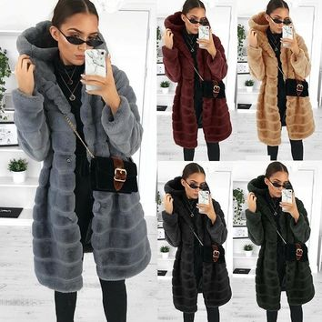 6 Color Women's Fashion Autumn and Winter Women's Exquisite Faux Fur Coat Hooded Soft Fleece Thick Jacket