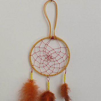 Yellow Orange Wire Wrapped Dreamcatcher for the rear view mirror delicate work small dreamcatcher dorm room decor wall hanging