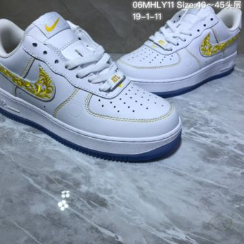 KUYOU N946 Nike Air Force 1 AF1 Mid Embroidery Fashion Casual Skate Shoes White Yellow